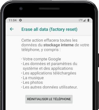 Réinitialiser le téléphone Android