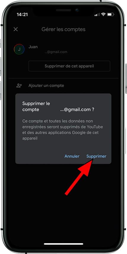Confirmer Supprimer comptes Google sur Apple iPhone XR