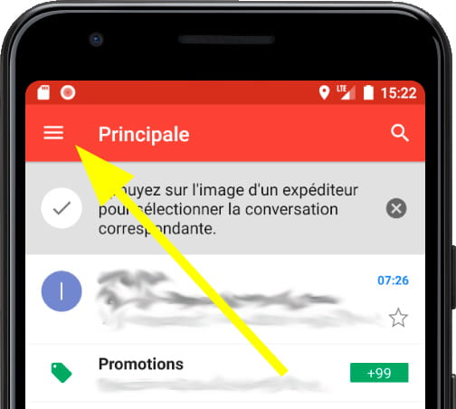 Menu principal Gmail