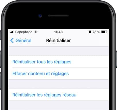 Réinitialiser menu iOS
