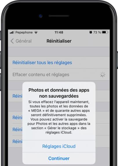 Réinitialiser le message de confirmation iOS